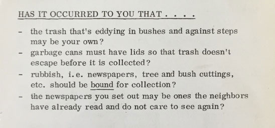 Trash-- a problem then, a problem now. Bolton Hill Bulletin, May 20, 1972.