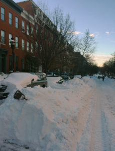 Looking up Park from Lafayette, which still had not been plowed as of Tuesday morning.