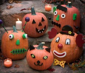 pumpkins with stickers