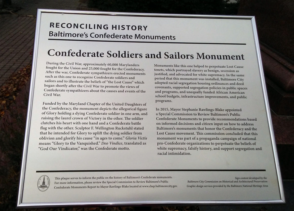 New interpretive text for Confederate Soldiers and Sailors Monument